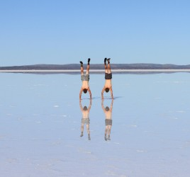 Angus & Jack on Lake Gairdner, South Australia