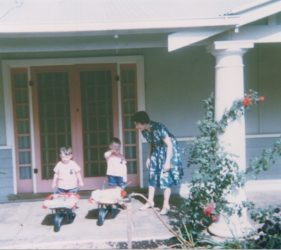 1965 Peter 3yo, John 4yo, Clare 35yo Christmas at Eileen & Jim's Retreat Valley Road, Gumeracha