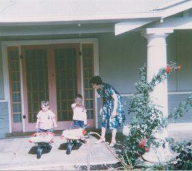 1965 Peter 3yo, John 4yo, Clare 35yo Christmas at Eileen & Jim's Retreat Valley Road, Gumeracha