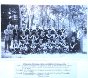 Torrens Valley Football Association - Gumeracha Football Club 1956 Premiers. Leonie's father Jim O'Dea 4th from left top row. Her Uncle Jack O'Dea last player on right middle row.